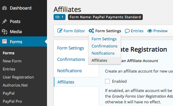 Affiliates Gravity Forms - Form Settings