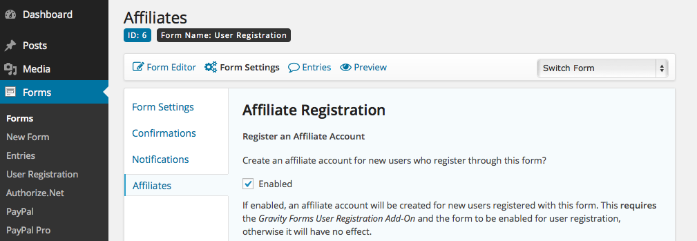 Form Settings - Affiliate Registration