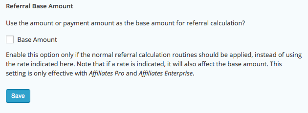 Form Settings - Referral Base Amount