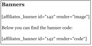 Banner shortcode example