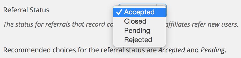 Affiliates User Registration Integration - Referral Status