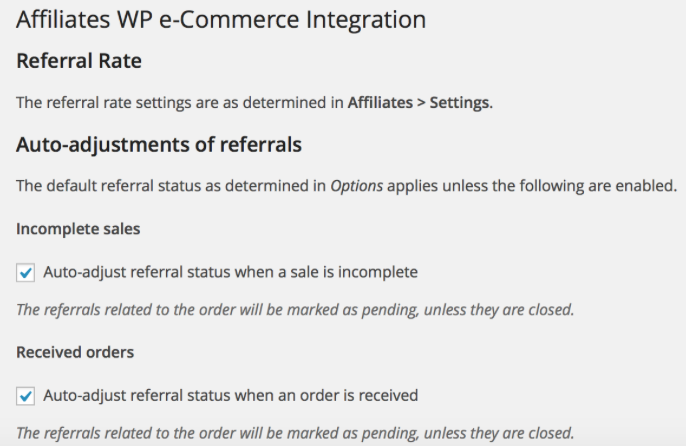 Affiliates WP e-Commerce Integration