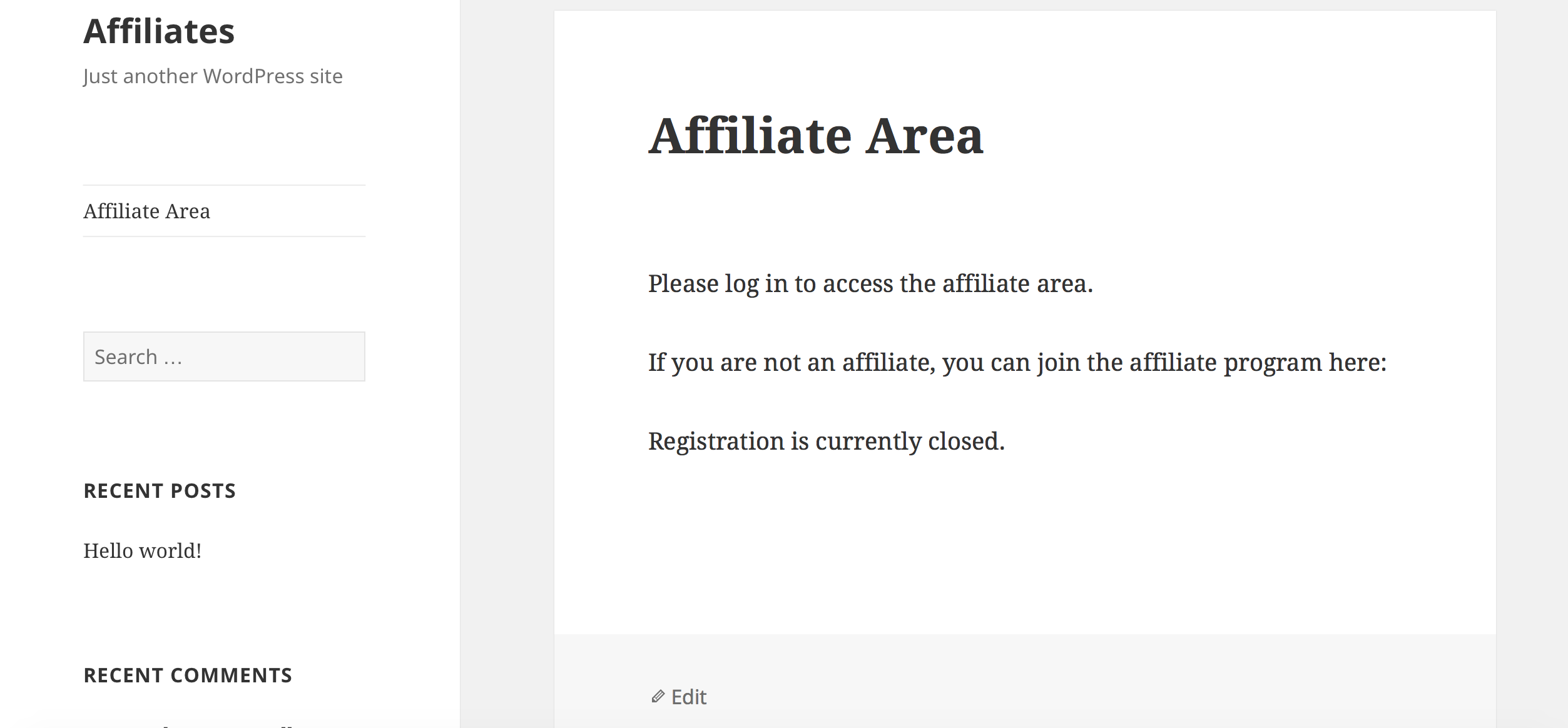 affiliate area view page