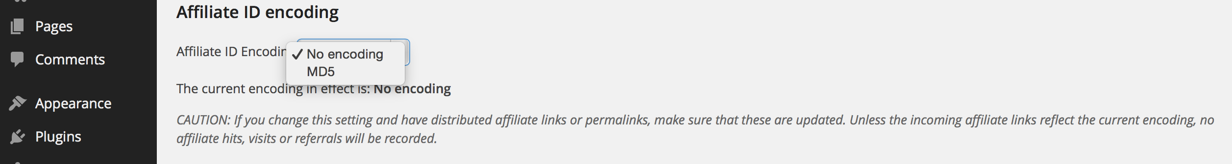 affiliate id encoding (menú abierto)