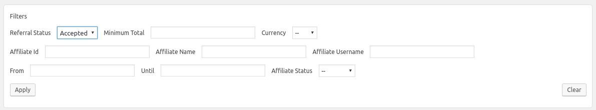 Affiliates Totals Filters