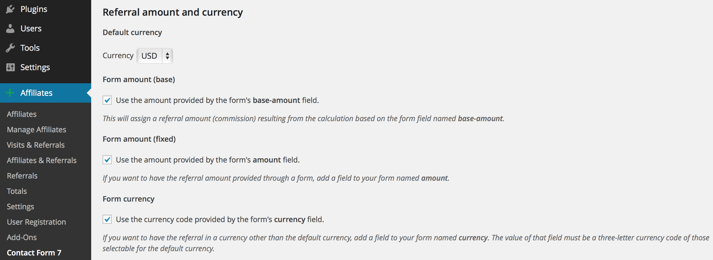 referral amount and currency