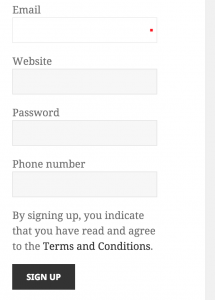 widget-sign up con terms conditions