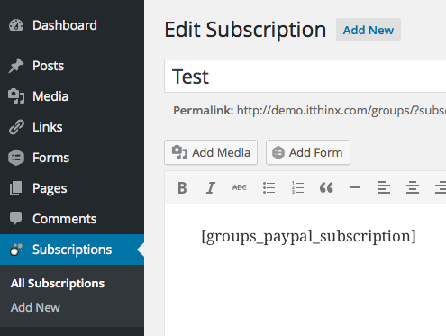 Editing a Subscription Page