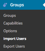 Groups Import Export Menu Items