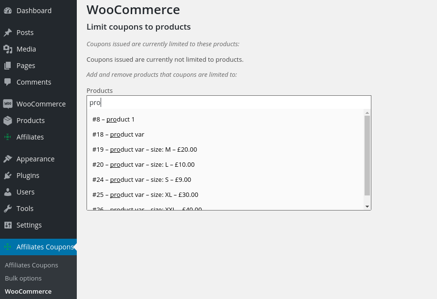 Limit coupons to specific WooCommerce products