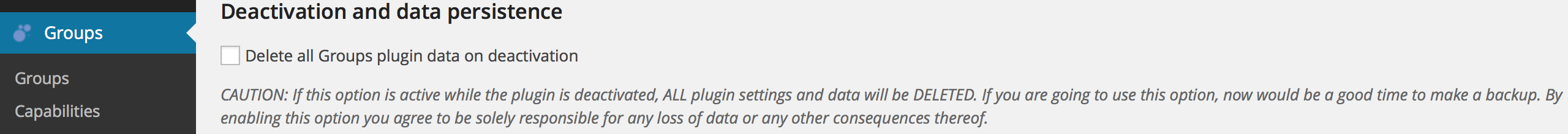 deactivation and data persistence