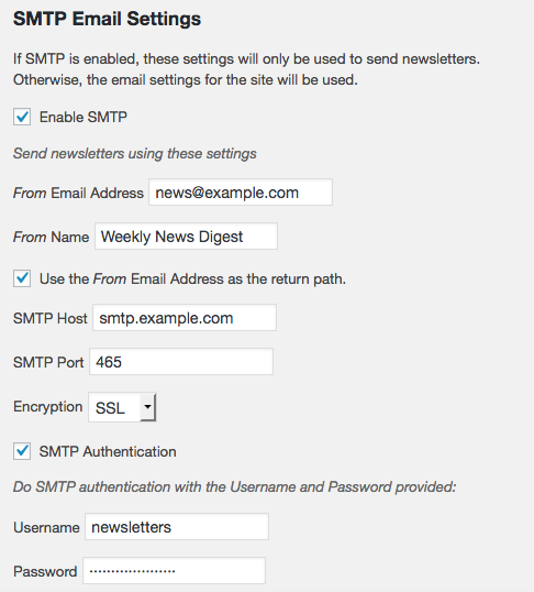 Example SMTP settings