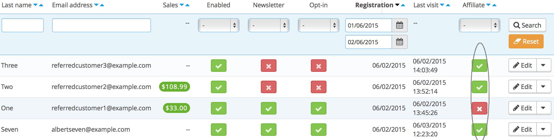 Managing affiliates - Quick Button Affiliates Customers
