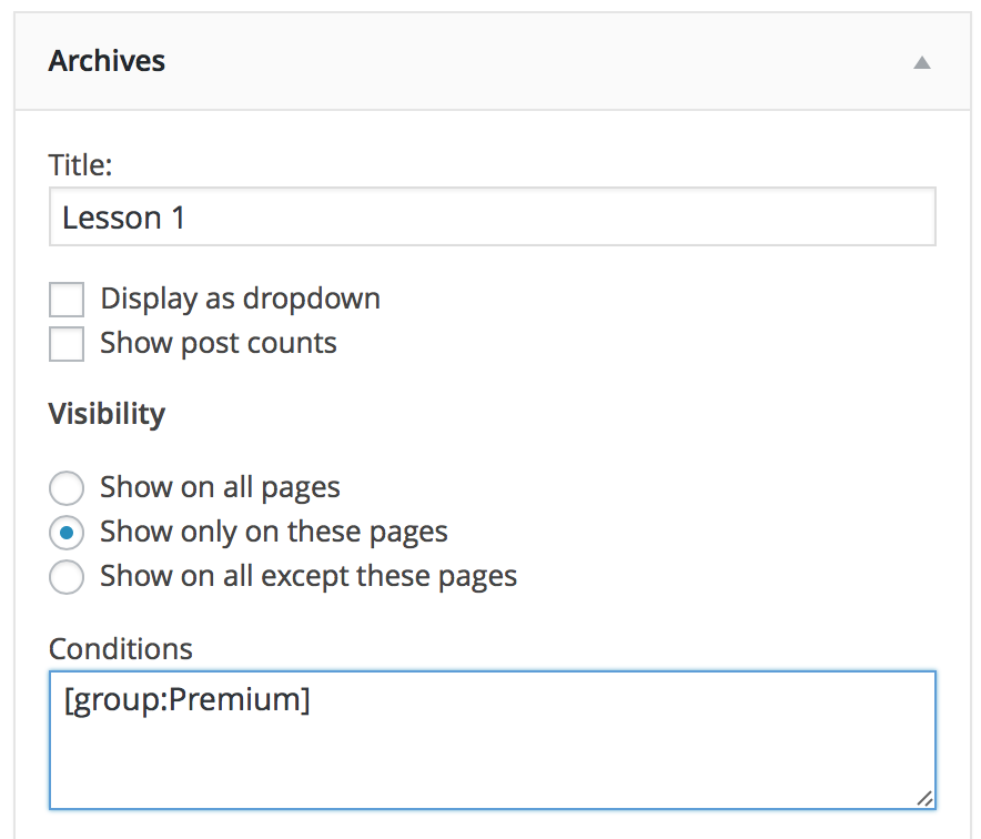 show archive widget to Premium group