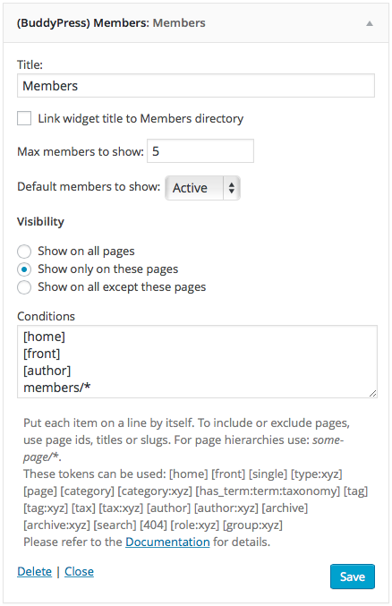BuddyPress Members Widget Example - Home, Front, Author, Members