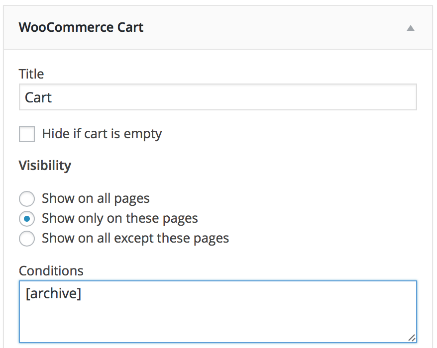 woocommerce cart widget with archive condition