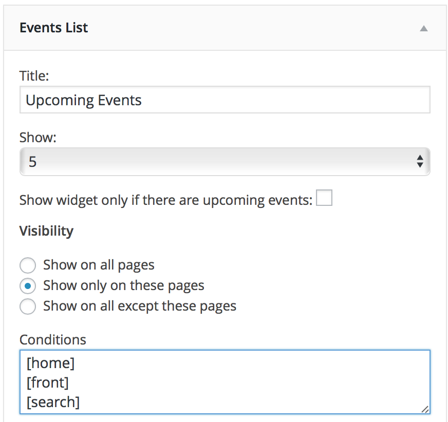 events list widget show only on home, front and search pages