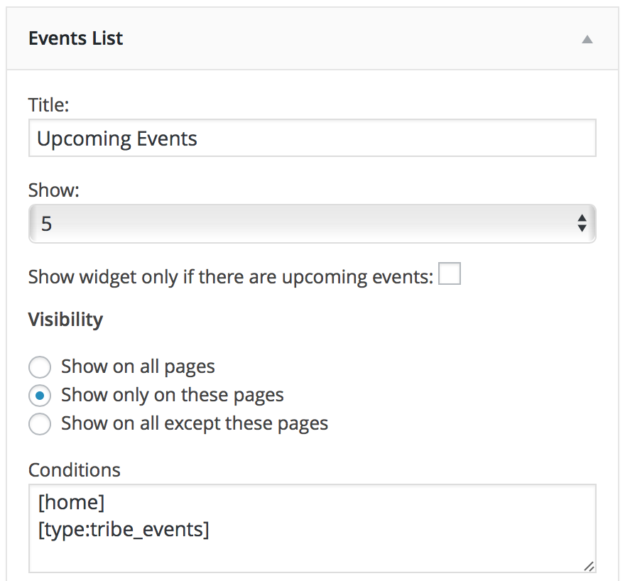 upcoming events widget, events calendar