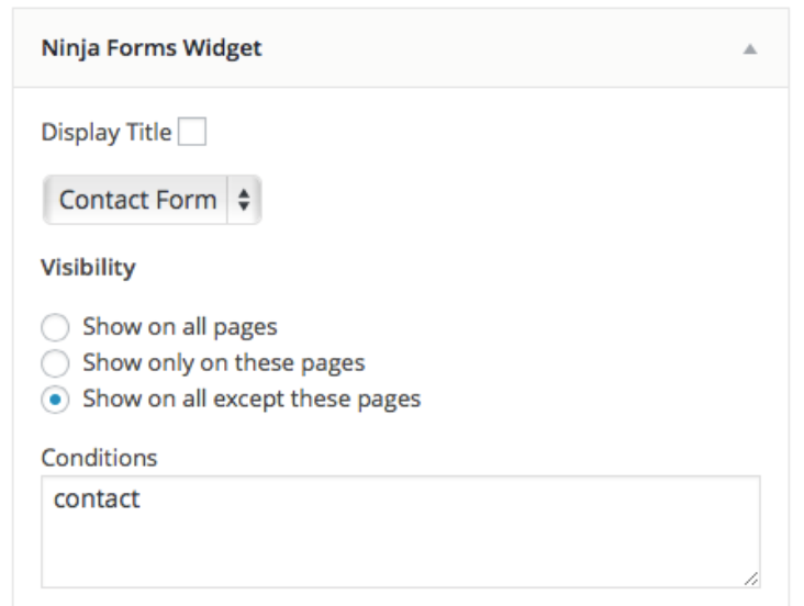 Ninja Form widget show on contact page