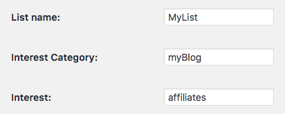 Affiliates Mailchimp List settings